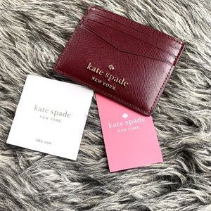 NWT Kate Spade leather card wallet burgundy